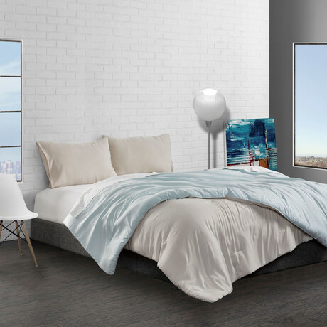 Reversible Brushed Microfiber Plush Down-Alt Comforter Set // Seafoam + Linen (Twin)