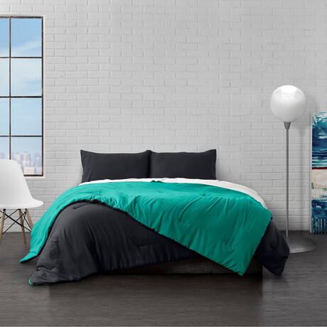 Reversible Brushed Microfiber Plush Down-Alt Comforter Set // Black + Teal (Twin)