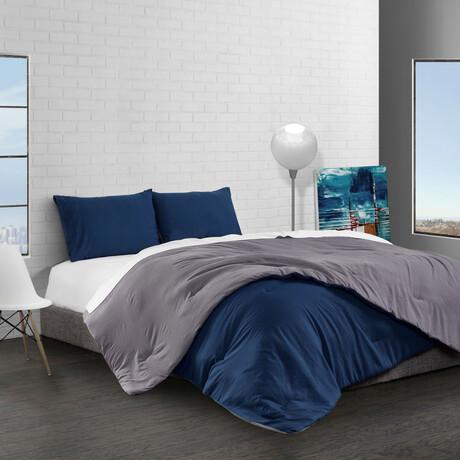 Reversible Brushed Microfiber Plush Down-Alt Comforter Set // Charcoal + Navy (Twin)