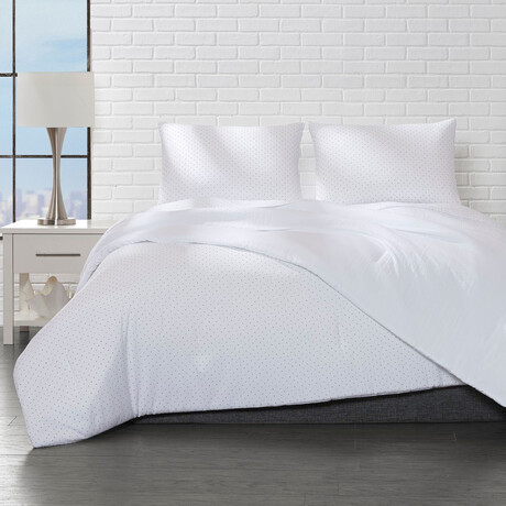 Reversible Microfiber Polka Dot Comforter Set // White (Twin)
