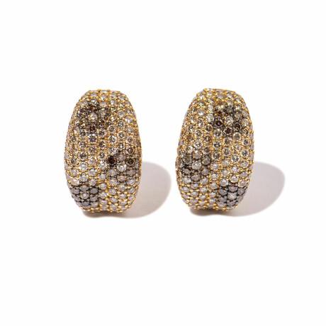 18k Yellow Gold Diamond Flower Earrings // New