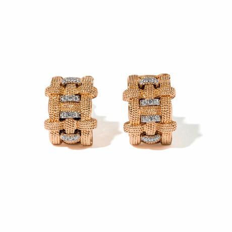 Woven Horizontal 18k Tri-Color Gold Diamond Earrings // New