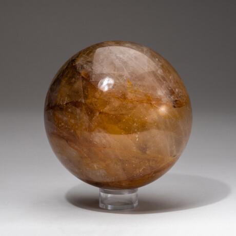 Genuine Polished Citrine Sphere + Acrylic Display Stand