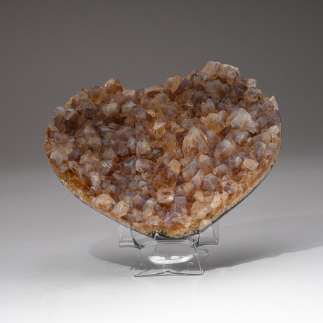 Genuine Calcite Over Citrine Crystal Cluster Heart + Acrylic Display Stand // V2