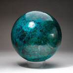 Giant Museum Quality Chrysocolla Sphere + Acrylic Display Stand