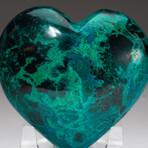 Genuine Polished Gemmy Chrysocolla Heart + Acrylic Display Stand // V2