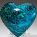 Genuine Polished Gemmy Chrysocolla Heart + Acrylic Display Stand // V1