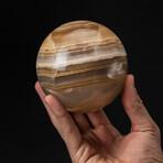 Genuine Polished Honey Onyx Sphere + Acrylic Display Stand