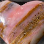Genuine Polished Pink Opal Heart + Acrylic Display Stand