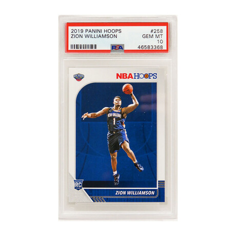 Zion Williamson // New Orleans Pelicans // 2019 Panini Hoops Basketball #258 RC Rookie Card // Mint Condition