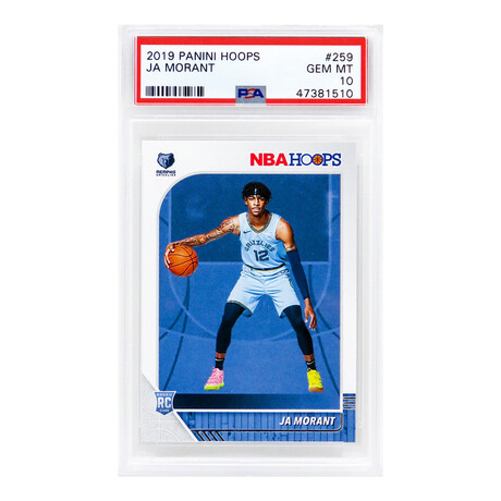 Ja Morant // Memphis Grizzlies // 2019 Panini Hoops Basketball #259 RC Rookie Card // Mint Condition