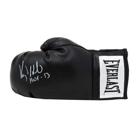 "Virgil Hill // Signed Everlast Boxing Glove // Black // ""HOF'13"" Inscription"