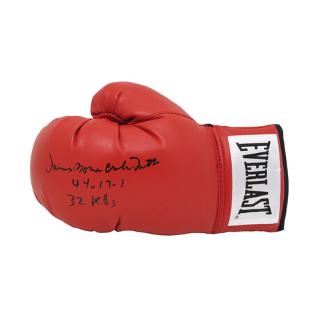 "James 'Bonecrusher' Smith // Signed Everlast Boxing Glove // Red // ""44-17-1, 32 KO's"" Inscription"