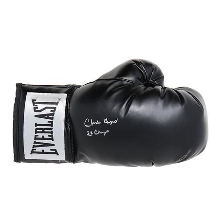"Chris Byrd // Signed Everlast Boxing Glove // Black // ""2x Champ"" Inscription"
