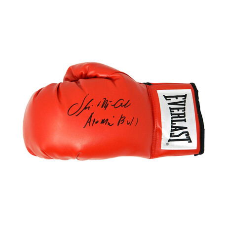 """Oliver McCall // Signed Everlast Boxing Glove // Red // """"Atomic Bull"""" Inscription"""
