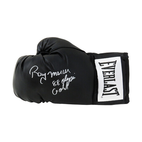"Ray Mercer // Signed Everlast Boxing Glove // Black // ""88 Olympic Gold"" Inscription"
