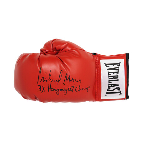 """Michael Moorer // Signed Everlast Boxing Glove // Red // """"3x Heavyweight Champ"""" Inscription"""