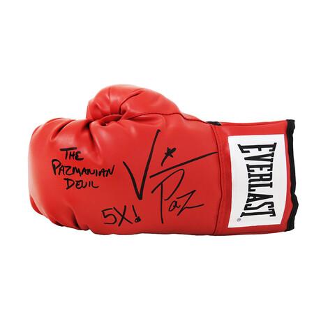 "Vinny 'Paz' Pazienza // Signed Everlast Boxing Glove // Red // ""The Pazmanian Devil, 5x"" Inscription"