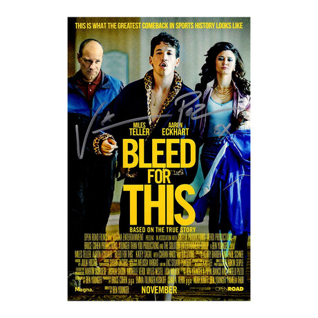 """Vinny 'Paz' Pazienza // Signed 'Bleed For This' Movie Poster // 11X17 // """"5x"""" Inscription"""
