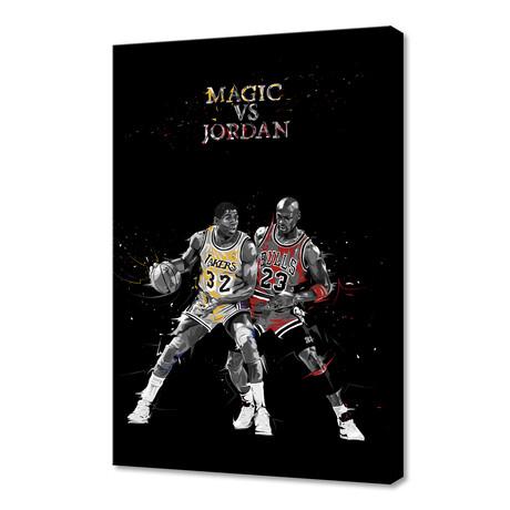 "Sports Moments // Magic vs. Jordan (12""H x 8""W x 0.75""D)"