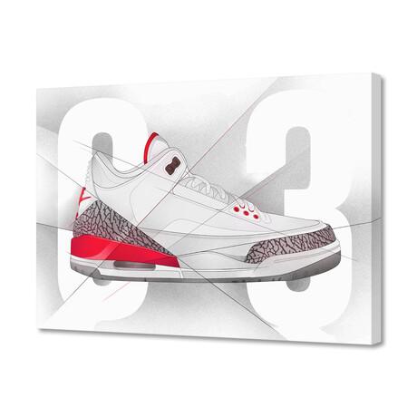 """Air Jordan 03's (8""""H x 10""""W x 0.2""""D)"""