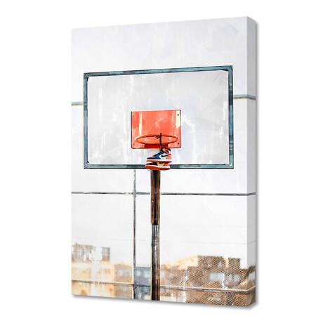 "Air Jordan Attached To Basketball Hoop (12""H x 8""W x 0.75""D)"