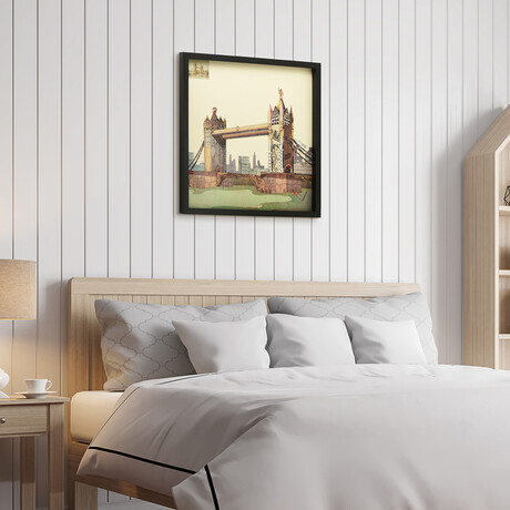 """""""London Bridge"""" Dimensional Graphic Collage Framed Under Tempered Glass Wall Art"""