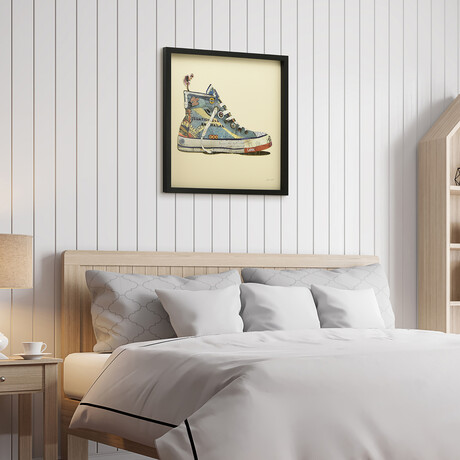 """""""High Top Sneaker"""" Dimensional Graphic Collage Framed Under Tempered Glass Wall Art"""