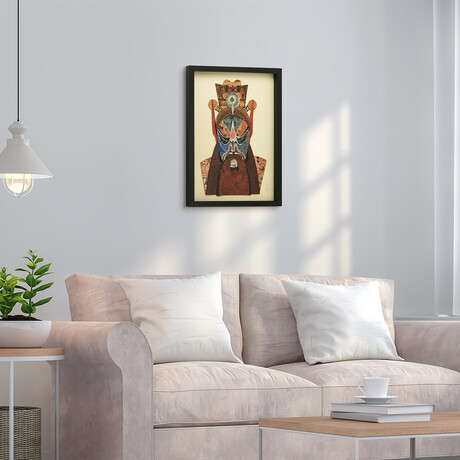 """""""Beijing Opera Mask #2"""" Dimensional Graphic Collage Framed Under Tempered Glass Wall Art"""