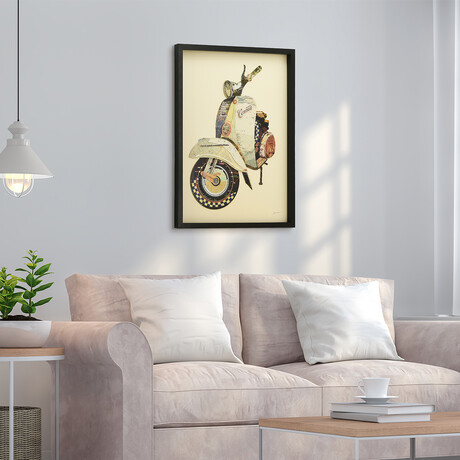 """""""Scooter"""" Dimensional Graphic Collage Framed Under Tempered Glass Wall Art"""