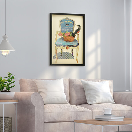 """""""Antique Chair"""" Dimensional Graphic Collage Framed Under Tempered Glass Wall Art"""