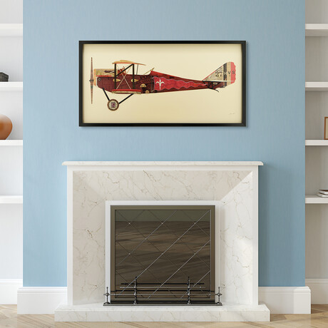 """""""Antique Biplane #2"""" Dimensional Graphic Collage Framed Under Tempered Glass Wall Art"""