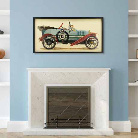 """""""Antique Automobile #1"""" Dimensional Graphic Collage Framed Under Tempered Glass Wall Art"""