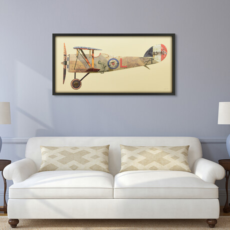 """""""Antique Biplane #1"""" Dimensional Graphic Collage Framed Under Tempered Glass Wall Art"""