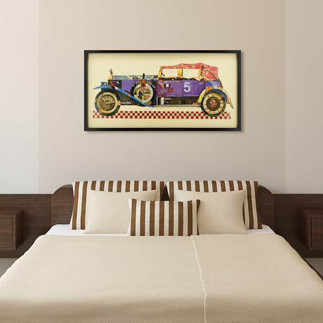"""""""Antique Automobile #2"""" Dimensional Graphic Collage Framed Under Tempered Glass Wall Art"""