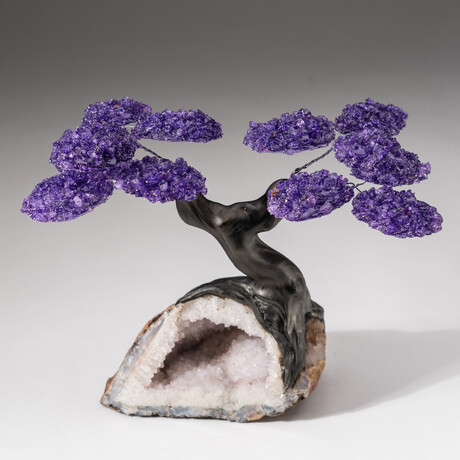 The Relaxation Tree // Custom Genuine Amethyst Clustered Gemstone Tree on Snow White Quartz Geode Matrix