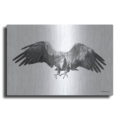 """Black and White Eagle (12""""H  x 16""""W  x  0.13""""D)"""