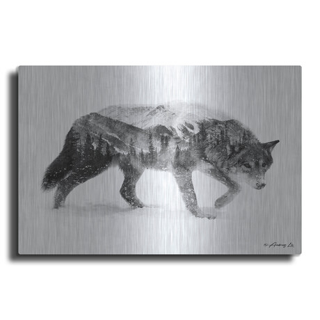 """Black and White Wolf 2 (12""""H  x 16""""W  x  0.13""""D)"""