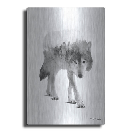"""Black and White Wolf 1 (16""""H  x 12""""W  x  0.13""""D)"""