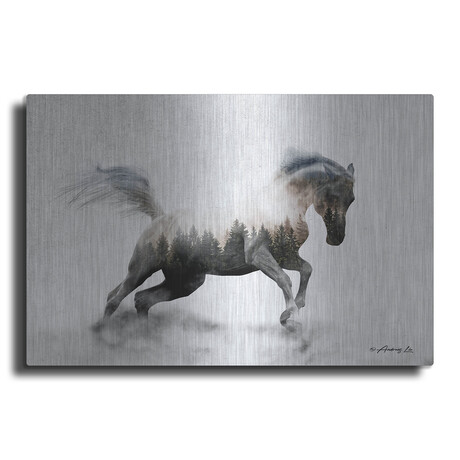 """Running White Stallion (12""""H  x 16""""W  x  0.13""""D)"""