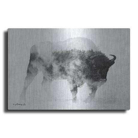 "Black and White Buffalo (12""H  x 16""W  x  0.13""D)"