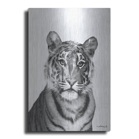"""Black and White Tiger (16""""H  x 12""""W  x  0.13""""D)"""