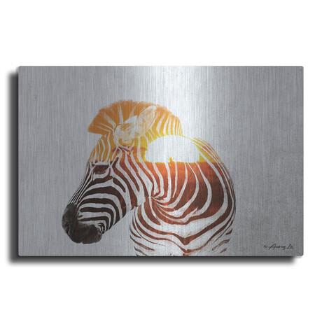 """Zebra with Sun (12""""H  x 16""""W  x  0.13""""D)"""