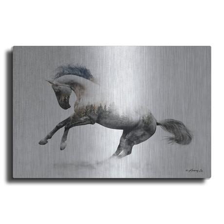 """White Stallion (12""""H  x 16""""W  x  0.13""""D)"""
