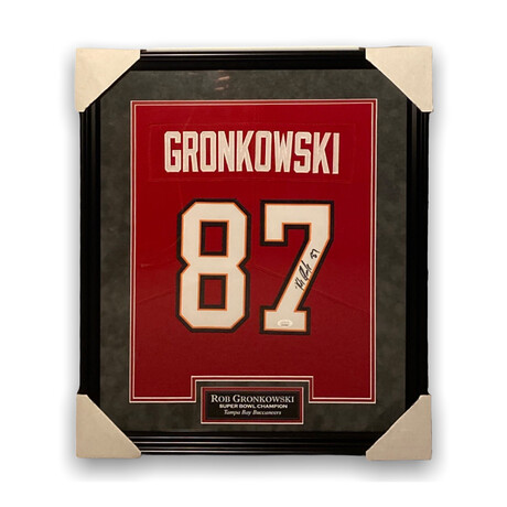 Rob Gronkowski // Tampa Bay Buccaneers // Framed + Signed Jersey // Red