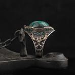 Raw Emerald + Victorian Ornaments Ring (9.5)