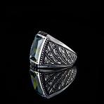 Hand Engraved Peridot Ring (8.5)