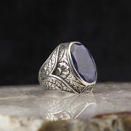 Hand Engraved Raw Sapphire Ring (8.5)