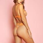 Glitter // Print Mesh + Lace Bra Set // Orange (Small)