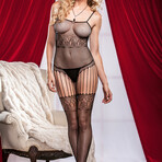 iCollection // Faux Lace Fishnet Strappy Bodystocking // Black